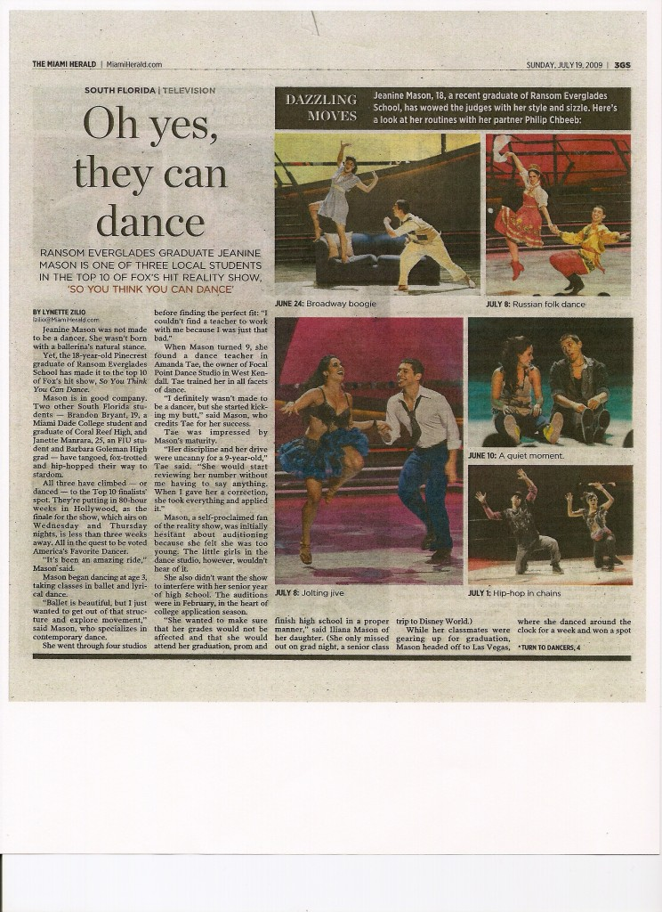 So You Think You Can Dance Miami Herald Lynette Zilio